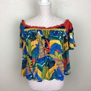 Plenty By Tracy Reese Tropical Leaf Off Shoulder M